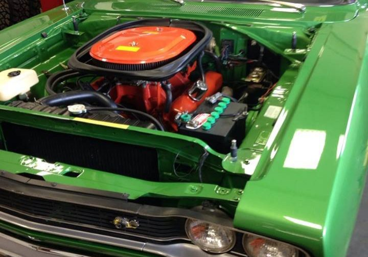 muscle car under hood view